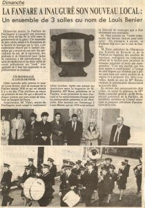 Inauguration salle de répétition 1991